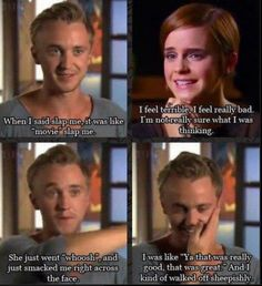 """Tom Felton and Emma Watson discuss Hermione punching Draco in """"Harry Potter and the Prisoner of Azkaban"""". Literally one of the best parts in the whole series! Mundo Harry Potter, Harry Potter Jokes, Harry Potter Cast, Harry Potter Fandom, Harry Potter Last Movie, Harry Potter Interviews, Tom Felton Harry Potter, Harry Potter Characters, Hogwarts"""