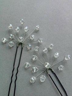 Christmas hair pin set of 2 hair pin Crystals hairpin Wedding