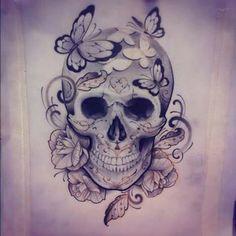 Skulls butterflies roses