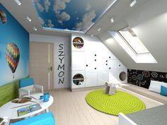 Kinderzimmer mit Luftballons an der Wand und Himmel-Fotodecke