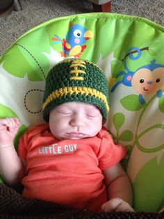 Hey, I found this really awesome Etsy listing at https://www.etsy.com/listing/197868532/baby-green-bay-packers-football-beanie