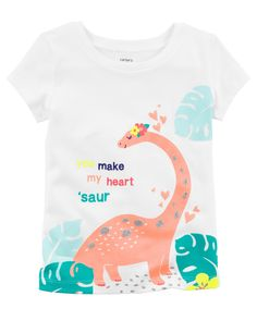 60334cb1 She'll make your heart 'saur in this girls' Carter's tee, featuring a cute,  dino graphic. In white/multi.