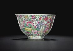 A rare falangcai 'Mille-Fleurs',bowl. Mark and period of Yongzheng