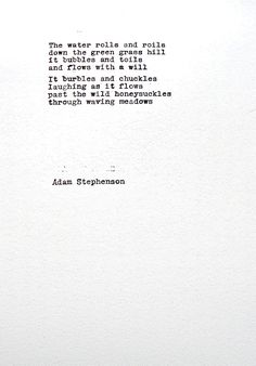 AN IRISH STREAM Irish original Poem Poetry Hand typed cotton paper gift for him gift for
