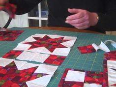 Festive table runner using evening star quilt blocks