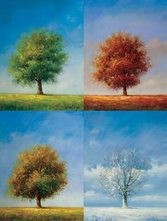 Tree of Four Seasons Canvas Painting
