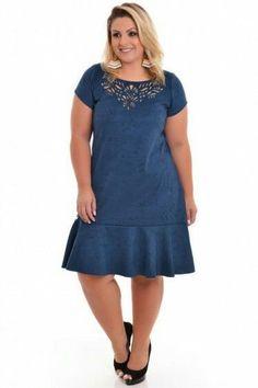 The best plus size dress models- Os melhores modelos de vestido plus size For chubby - Best Plus Size Jeans, Best Plus Size Dresses, Plus Size Outfits, Nice Dresses, Casual Dresses, Dresses Uk, Evening Dresses, Denim Fashion, Curvy Fashion