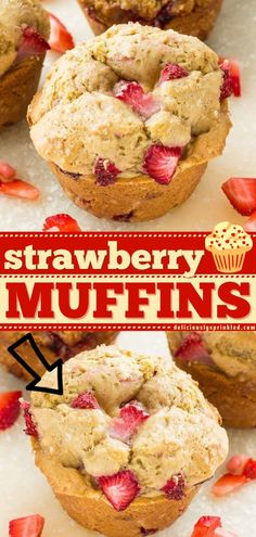 Say goodbye to store-bought after trying this easy Homemade Strawbery Muffin recipe! Full of fresh flavor, these breakfast muffins are delicious and satisfying. Perfect for a breakfast on the go during those busy back to school mornings! Homemade Muffins, Homemade Breakfast, Breakfast Recipes, Breakfast Ideas, Breakfast On The Go, Make Ahead Breakfast, Breakfast Muffins, Easy Strawberry Desserts, Strawberry Muffins