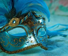 blue mask and feather / unworn, resting, waiting for ... ? / April? Mardi Gras?