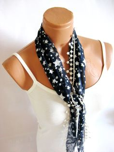 Navy Blue White Scarf starred fabric scarf by WomanStyleStore, $14.00