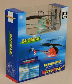 Ecoman Micro Gear R/C Blue Helicopter Radio Remote Control Toy New in Box NIB #EcoManMicroGear