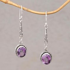 Amethyst dangle earrings, 'Temple Translucence' - Oval Amethyst and Silver Dangle Earrings from Bali Geek Jewelry, Gemstone Jewelry, Beaded Jewelry, Gemstone Bracelets, Women Jewelry, Silver Necklaces, Silver Jewelry, Silver Earrings, Gothic Jewelry