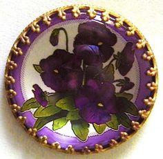 Czech Crystal Glass Brass Dome Antique Button