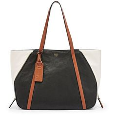 Fossil Gwen Shopper Shb1330005 Color: Black/Cream ($149) ❤ liked on Polyvore featuring bags, handbags, tote bags, leather tote, leather shopper, black tote bag, fossil handbags and leather tote bags