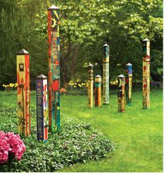 Painted posts.