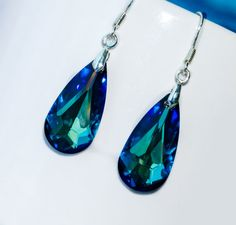 Bermuda Blue Swarovski earrings  sterling by EllenSmilePhoto