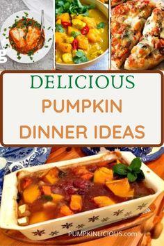Best Pumpkin dinner recipes - fall dinner ideas! Help with your Fall menu plan! Pumpkin Pizza, Pumpkin Stew, Chicken Pumpkin, Fall Dinner Recipes, Thanksgiving Recipes, Dinner Ideas, Pumpkin Puree Recipes, Pureed Food Recipes, Pumpkin Growing