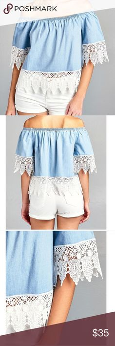 🎉NWT Off the shoulder blue lace top🎉 NWT Light blue off should top. Lace trimming around sleeves. Medium and Large only. Just in time for spring. Pair with white denim jeans for q more casual look or pair with a pair of white shorts for a fun summer look :) -100% cotton -lace detail on sleeves Can I help you find your size? *Please see photo sizing chart in photos* Tops Button Down Shirts