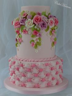 Pink Roses and Billowing Cake - Cake by Marlene - CakeHeaven by isrc