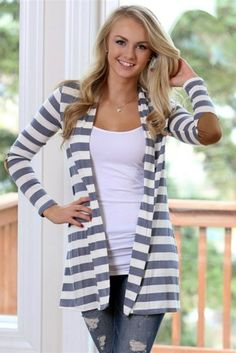 Basically Beautiful Striped Cardigan: Beautiful basic charcoal striped cardigan with super cute elbow patches that added a touch of fall!  Super comfy and soft and looks great. TheChicFind.com