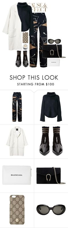 """""""October"""" by freyaac ❤ liked on Polyvore featuring Envi:, Valentino, Stine Goya, Monki, Acne Studios, Balenciaga and Gucci"""