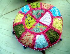 Indian Handmade Ethnic Embroidery Ottoman Stool Chair Pouf Cover Vtg Round Decor