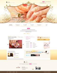 ネイルサロン・WEBサイト・ホームページ・デザイン・ゴールド・ホワイト・ブラウン