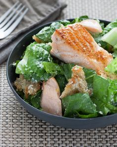 Salmon Caesar Salad- Yummy and doesn't contain any raw egg. I skipped the lemon zest part. A bit garlicky. Didn't realize making croutons was so easy. Probably not buying them anymore. - EC