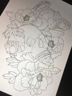 Контур тату с черепом, цветами и часами