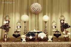 Gold and ivory candy/dessert buffet, bon bons, rock candy, gold sequin table linen
