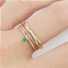 Tiny emerald solitaire ring 2mm 14k gold stack ring simple