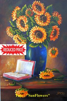 """REDUCE PRICE Mother's Day  Gift. Oil Paintings on Canvas""""Sun Flowers"""" 16""""x24""""  . - $176.00 USD"""