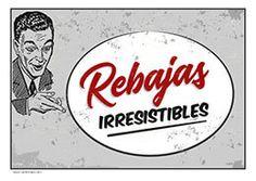 Cartel de rebajas retro #Rebajas #Comercio