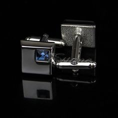 Stainless Steel Silver Vintage Blue Square Crystal Cufflinks #cufflinks