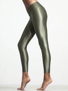 Koral olive green shimmer leggings