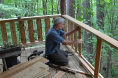 Phillip carefully mortised the upper and lower 2×6 rails into the locust porch columns. Description from cabinwoodworks.com. I searched for this on bing.com/images