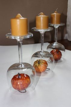 Need a super quick centerpiece? Grab three wine glasses, three small candles and three small fall decorations. Click through to see different centerpieces. A simple DIY fall decor addition to a tabletop. Thanksgiving Decorations, Seasonal Decor, Thanksgiving Holiday, Christmas Decorations, Christmas Ornaments, Fall Crafts, Holiday Crafts, Holiday Decor, Wine Glass Centerpieces
