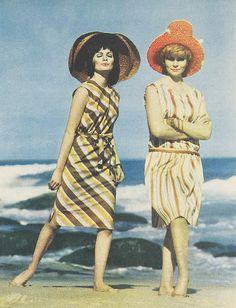 1960s diagonal striped sheath dresses