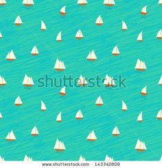 Nautical pattern inspired with small boats on waves. Texture for web, print, wallpaper, home decor, spring summer fashion fabric, textile, i...
