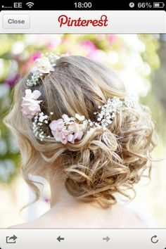 Want this but with hair down. Boho hair with flowers