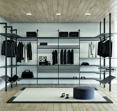 Customize your closet, office, or retail space shelving with Slim by Eureka. Bathroom Design Luxury, Modern Bedroom Design, Home Room Design, Dream Home Design, Home Interior Design, Walk In Closet Design, Bedroom Closet Design, Closet Designs, Home Bedroom