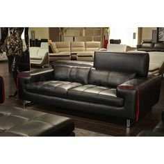 SALE:  $3149.00 Mia Bella Magrena Leather Sofa by Michael Amini | Sofas, Sofa Beds MB-MAGRN15-BLK-13/0 - NYC Bed Online Furniture Store