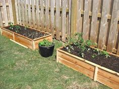 Raised garden bed $10 along the fence so it doesnt take up open yard space