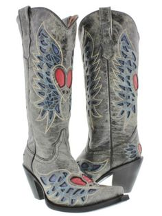 COUNTRY COWGIRL BOOTS Red Heart and Angel Wing Inlay Blue and Tan Embroidery Tall Distressed GREY GENUINE LEATHER Snip Toe Western Boots