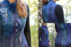 Nuno-felted vest by Svetlana Vronski. My Works, Vest, Detail, Felting, Tops, Fashion, Jackets, Felt, Fashion Styles