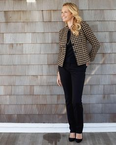 Houndstooth jacket, silk cotton crew shell & denim slim-leg jeans l #ColdwaterCreek