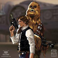 Star Wars: Han Solo and Chewbacca Luke Skywalker, Han Solo And Chewbacca, Drawing Stars, Star Tours, Star Wars Tattoo, Star Wars Pictures, Star Wars Wallpaper, Star Wars Fan Art, Star War 3