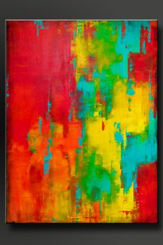 Spectrum 2 Abstract acrylic painting Deep 1 1/2 canvas 40 x 30 Sides are painted black, ready to hang Signed and dated on the back This large abstract acrylic painting has been done in shades of crimson red, vivid orange, sunshine yellow, aqua, turquoise, and black on the
