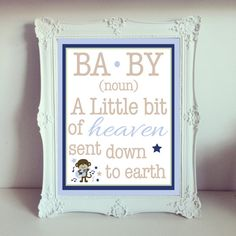 Little Bit of Heaven Baby boy 8x10 by DesignsByLindsayy on Etsy