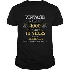 Vintage Age 16 Years 2000 Perfect 16th Birthday Gift T Shirt 449 #2000